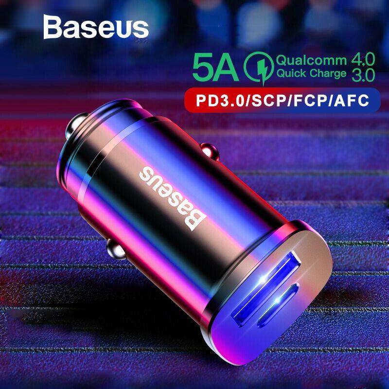 Baseus Dual USB Auto Ladegerät Typ-C PD3.0 QC4.0 QC3.0 AFC SCP Telefon Ladegerät Schnell Ladung 4,0 Auto USB ladegerät Für iPhone Xs Max