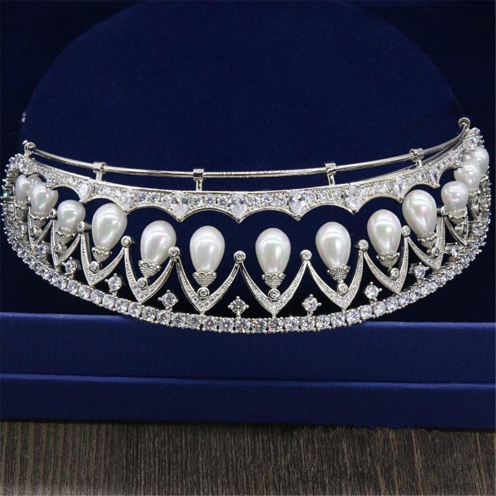 Micro Paved Full Zircon Pearl Tiara Queen Diadem Crown Bridal Headpiece Wedding Hair Accessories Bijoux Cheveux Novia WIGO0998