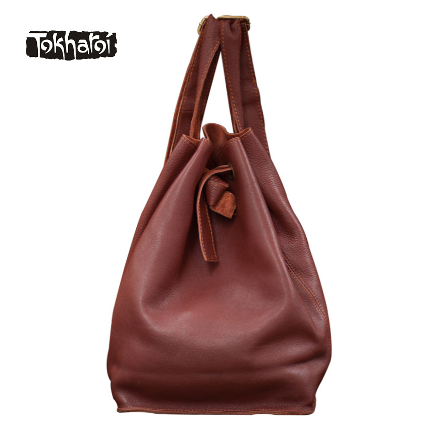 Tokharoi Brand Genuine Leather Women Backpack Fashion String Open Pocket Shoulder Bag Solid Softback Backpacks Casual Tote Bags