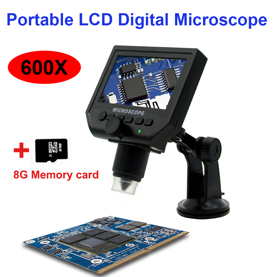 G600 600X electronic USB microscope digital soldering video microscope camera 4.3 inch lcd Endoscope magnifying Camera +LED 600x portable 4 3inch hd oled display lcd digital video microscope magnifying glass with 8 led light