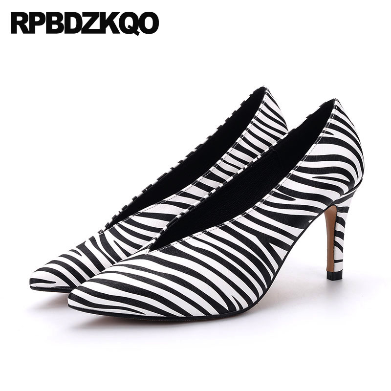 High Heels Extreme 3 Inch Celebrity Size 33 Shoes Genuine Leather Ladies Thin Zebra Super Big Women Pumps 2018 Ultra Pointed Toe thin mesh extreme ultra ladies pumps size 33 big 12 44 super 10 42 green high heels shoes white pointed toe special novelty