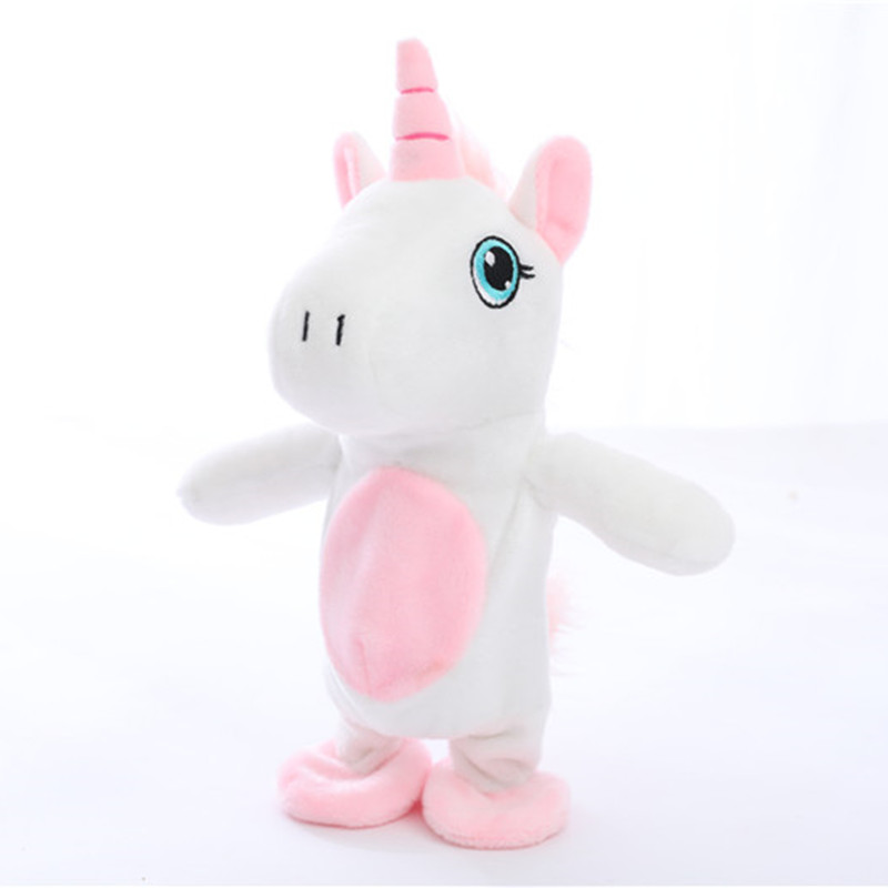 2018 Hot Sale 25cm Kawaii Unicorn Walking& Talking  Stuffed Animal Horse Toy Sound Record Plush Unicorn Creative Gift for kids creative kids talking hamster electronic pet toy 1pc