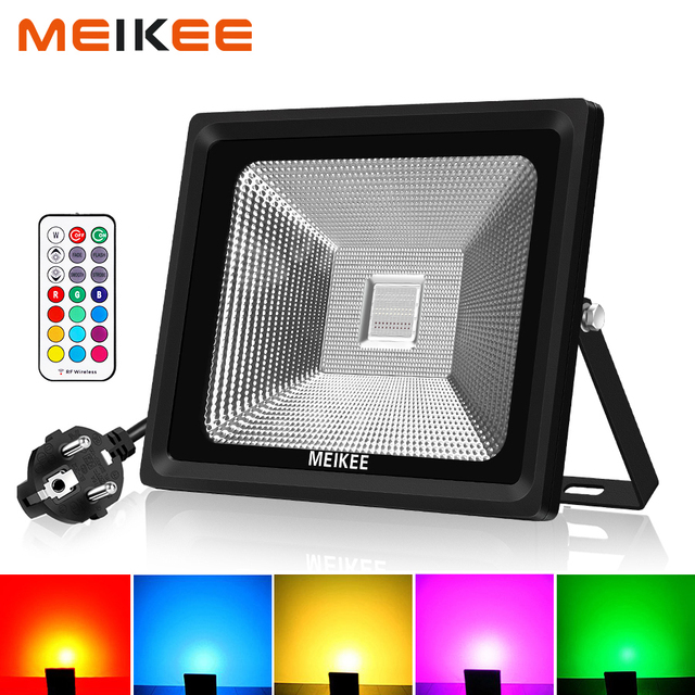 10W/30W/50W RGB LED Flood Light 16 Colors Waterproof LED Floodlight Outdoor Spotlight Flashlight with Remote Party Neon Light