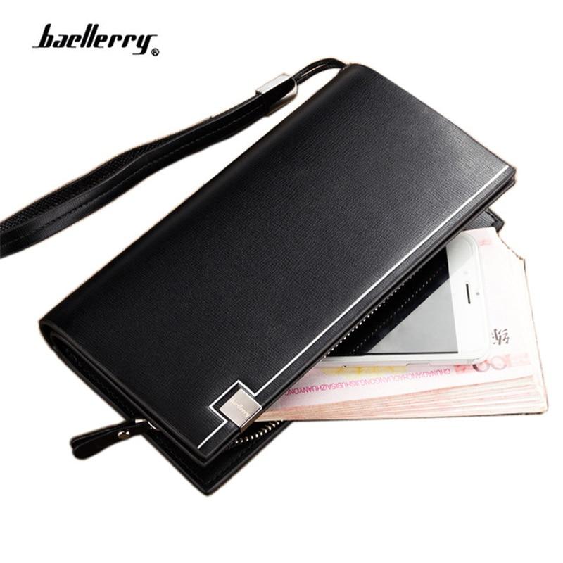 2018 Baellerry carteras de los hombres de negocios de cuero sólido de la PU cartera larga portátil monederos casuales carteras estándar masculino bolsa de embrague
