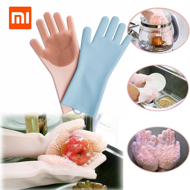 Smarte Fernbedienung Intelligente Elektronik Xiaomi Mijia Magie Silikon Reinigung Handschuhe Isolierung Nicht-slip Smart Einfach Schaum Doppelseitige Tragen Handschuhe Für Smart Home Küche Wohltuend FüR Das Sperma