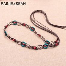 RAINIE SEAN Bohemian Ethnic Belt Women Handmade Beaded Flower Thin Ladies Waist Belts Brown Self Tie Female Belt For Dress цена 2017