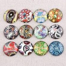 Onwear mix colorido flor padrão foto redondo cabochão de vidro 12mm 20mm 25mm diy cúpula plana volta artesanal jóias acessórios