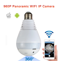 Fisheye Lens 360 Wireless Panoramic HD IP Camera Led Bulb Home Security System With Real Time