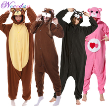 Купить с кэшбэком Anime Kigurumi Kumamon Costume Animal Bear Onesie Pajamas Adult Men Women Cosplay Soft Warm Winter Jumpsuit Sleepwear