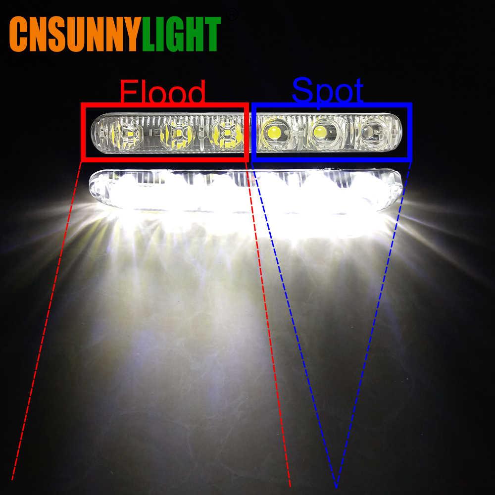 CNSUNNYLIGHT LED DRL Kit Daytime Running Light Waterproof 6 LEDs Universal Auto Driving Work Light External Fog Lamp 6000K 12V