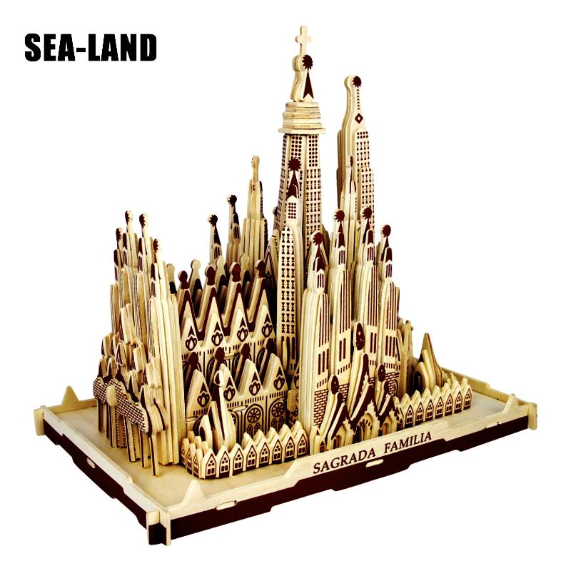 3d puzzle en bois des Enfants Et Adulte Modèle La Sagrada Familia Un Enfants Jouet De La Célèbre Bâtiment Série Un Meilleur cadeau Pour Les Enfants