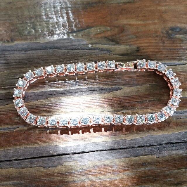 Hip hop Bling Iced Out Cubic Zirconia Bracelet Tennis Chain Bracelets 3