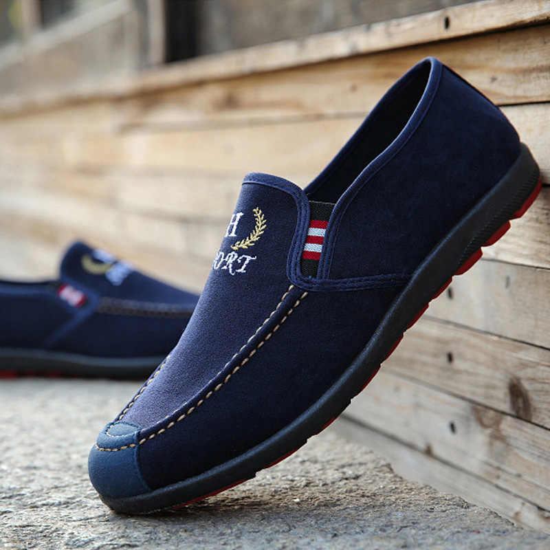รองเท้าผู้ชายรองเท้า 2019 ฤดูใบไม้ผลิรองเท้าสบายๆรองเท้าผ้าใบรองเท้าแฟชั่น Loafers ชาย Breathable กลางแจ้งชายรองเท้าสีดำ