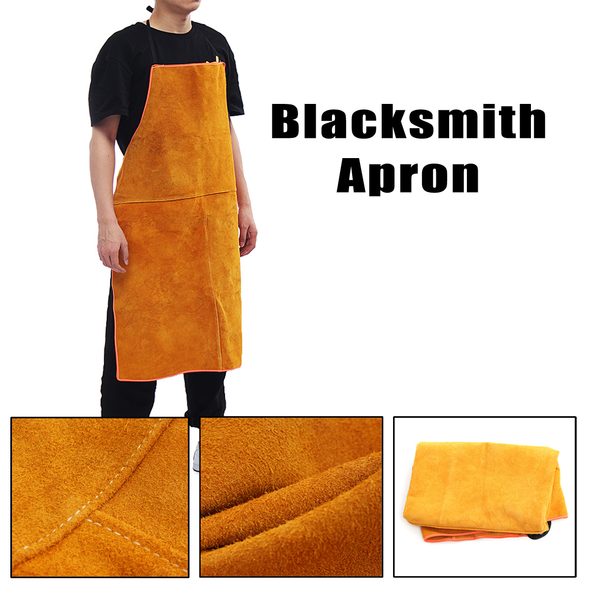 Full Cowhide Leather Welding Apron Bib Blacksmith Apron 3 Size Yellow Electric welding Safety Clothing my apron