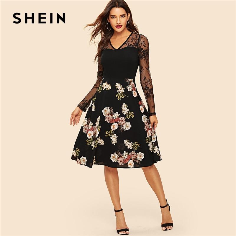 cd2291b1633 SHEIN Black Floral Lace Panel Fit And Flare Dress High Waist A Line Elegant  Vintage Dress