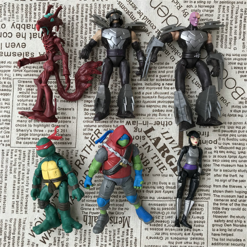 The Sewer Turtle Anime Action Figure Shredder April·O'Neil Karai Tiger Hands And Feet Can Move Handmade Toys For Children