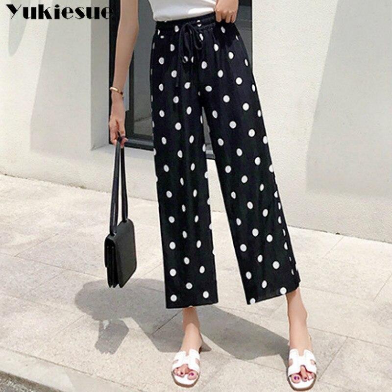 2019 summer high waisted   wide     leg     pants   capri for women loose work office dot print boho womens trousers female Plus size