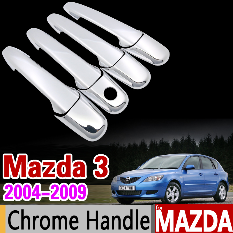 for Mazda 3 2004-2009 BK Chrome Handle Cover Trim Set Sedan Hatch MPS 2005 2006 2007 2008 Car Accessories Stickers Car Styling car rear trunk security shield cargo cover for jeep compass 2007 2008 2009 2010 2011 high qualit auto accessories