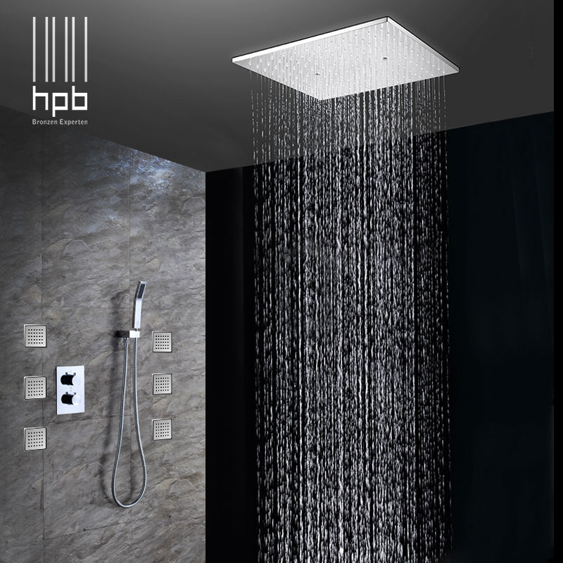 HPB Brass Bathroom Thermostatic Water Mixer Ceiling Mounted Shower Head Bath Rain Shower Set Faucet torneira banheiro HP2217