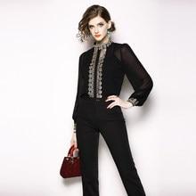 360a93db84d8321 Высококачественная винтажная женская блузка с цветочной вышивкой, рукав  фонаря на пуговицах, со стоячим воротником