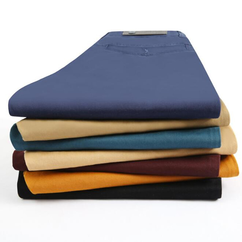 Male Trousers Casual-Pants Slim-Fit Chinos Classic Winter Straight Plus-Size Cotton Brand