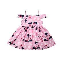 цена на Summer Baby Girl Clothes Newborn Toddler Flower Print Sleeveless Dress Off Shoulder Girl Dresses Cotton Floral Kids Girls Dress
