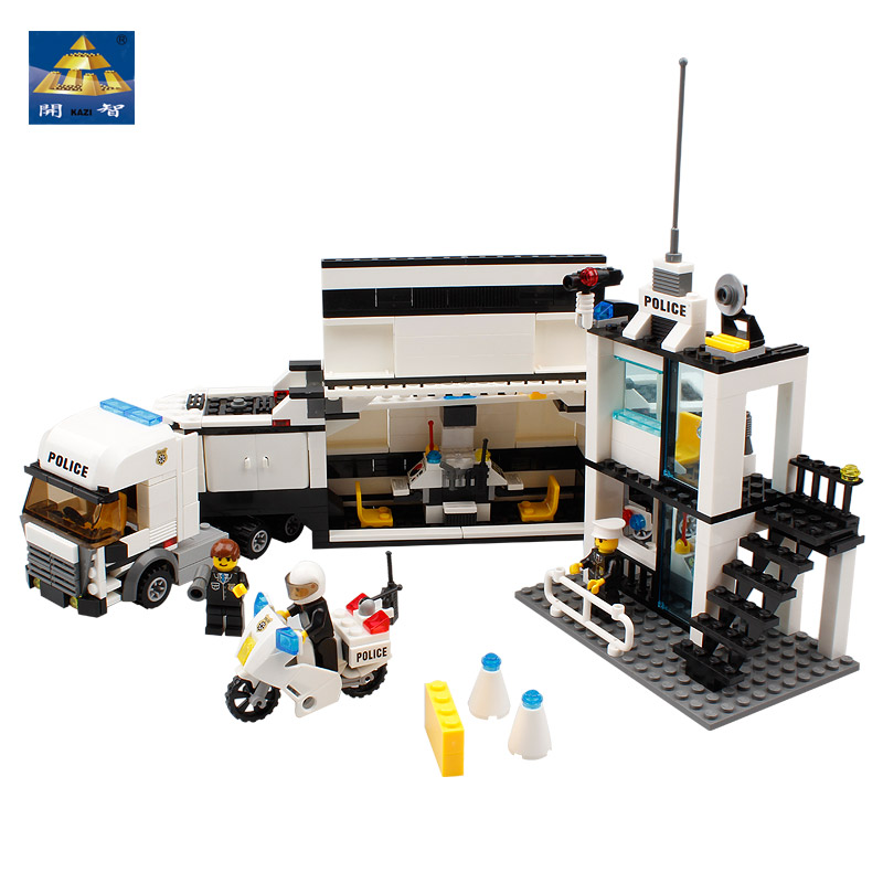 KAZI Police Station Truck Building Blocks Sets Bricks Gift Learning & Education Toys For Children brinquedos educativos gift kazi police command center motorcycle building blocks bricks assemblage education toys model brinquedos gift for children 6728