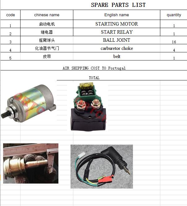 Moteur de démarrage/relais de démarrage/rotule/starter électrique/combinaison de ceinture pour moteur CF250