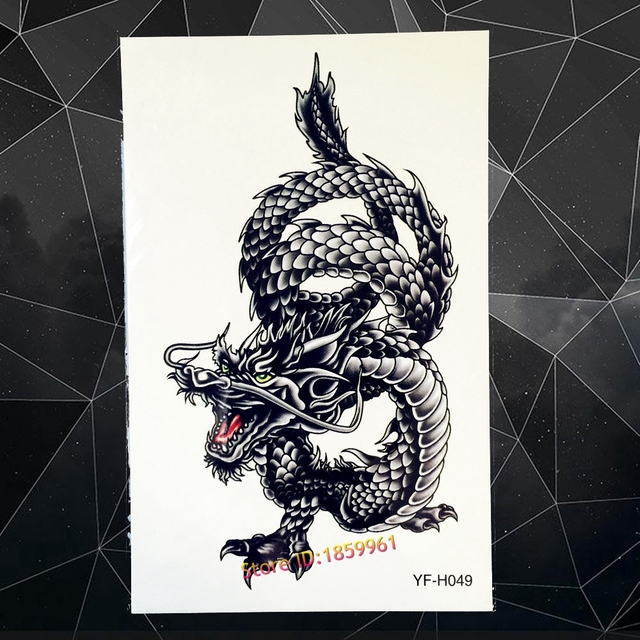 Hot Sexy Men Spray Large Black Dragon Design Arm Fake Tattoo Water Transfer Temporary Tattoo Sticker Chest Dragon Tatoos AYF-H49