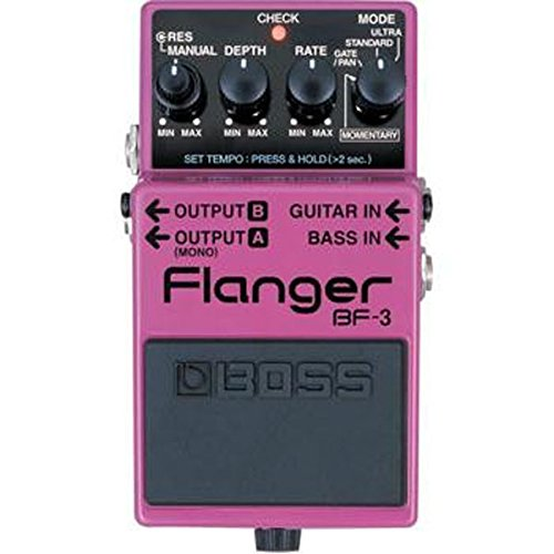 Boss Audio BF-3 Flanger Pedal for Guitar and Bass with Momentary Mode, Tap Tempo, and Ultra and Gain/Pan Modes boss audio lmb 3 bass limiter enhancer pedal