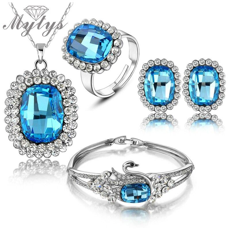 Mytys bleu cristal bijoux ensembles argent couleur collier bracelet et bague ensembles pour les femmes N436