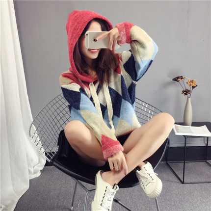 And Sweater 1 Lazy Knit Korean Loosely Female Autumn Sweet Fresh Pullover Wind 2 Winter Small 2018 New qX4fxCn