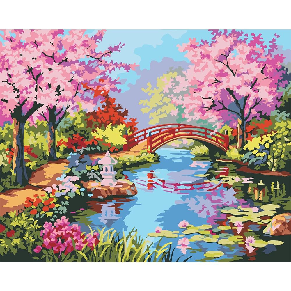 Frameless Canvas Art Oil Painting Flower Painting Design: Frameless Digital Oil Painting Spring Scenery Hand Painted