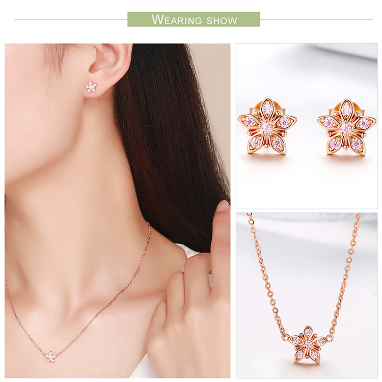 BAMOER 925 Sterling Silver Sakura Pink Flower Pendant Necklaces Women Earrings Star Shape Jewelry Set Wedding Jewelry ZHS098 4