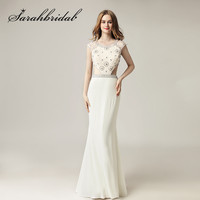 Cap Short Sleeves Evening Dresses 2018 Sexy Cutaway Sides Beading Crystals Ivory Mermaid Long Prom Party Gowns CC433