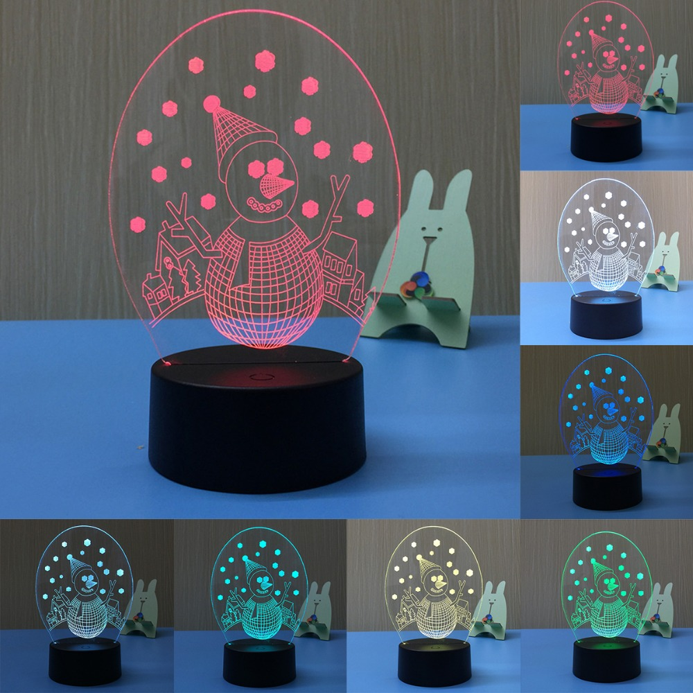 Moon Lights Bedroom: 3D Lights Christmas Snowman Lamp 7 Color Change Touch