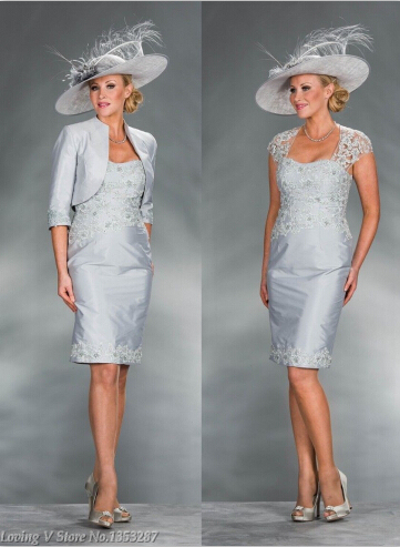 Caliente venta lf2739 madre de la novia abrigo vestidos Appliqued longitud de la rodilla madre de la novia vestidos tallas grandes chaqueta de noche plateado