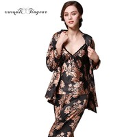 SpaRogerss Luxurious Women Pajama Sets 2017 Brand New Faux Silk Ladies Pajamas Long Pants 3 Piece
