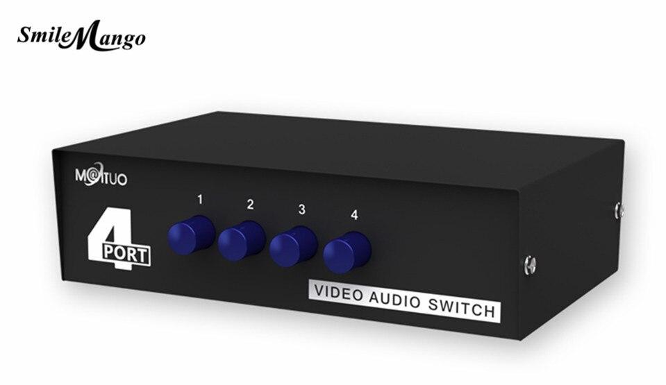 Smilemango alta qualidade original MT-VIKI rca av interruptor de áudio e vídeo seletor 4 entrada 1 saída MT-431AV frete grátis