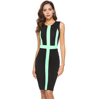 Summer Women S Office Dress Female Color Block Sheath Bodycon Formal Work Party Slim Fitted Black