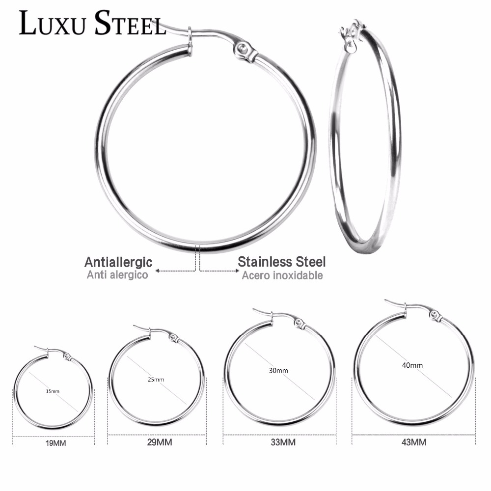 LUXUSTEEL Pendientes Hoop Earrings Stainless Steel Gold/Silver/Rose Color Earrings Circle Christmas Women Mother Gift Aros Party