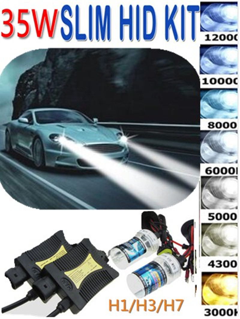 High Quality XENON HID Conversion Kit 12V 35W H1 H3 H7 Lamp Slim Ballast Car Headlight Bulb 4300K 6000K 8000K 30000K black slim hid xenon ballast h9 8000k headlight kit conversion bulbs 35w [c470]