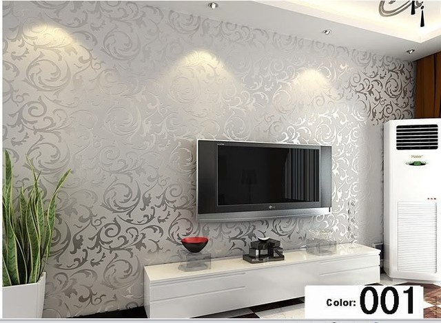 Moderne 3D Hintergrund Vinyl Tapete Für Wohnzimmer Gold Und Silber