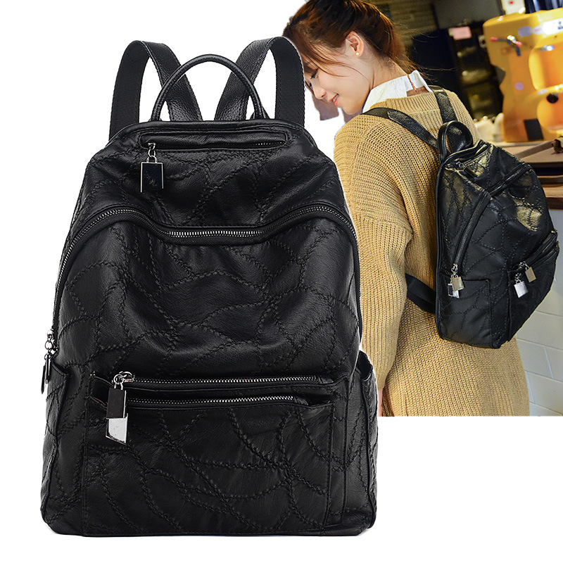 100% Genuine leather Women Backpacks leather Backpacks student bags For Teenagers Girls Female Travel Back Pack 100% genuine leather laptop backpacks for teenagers 7273a