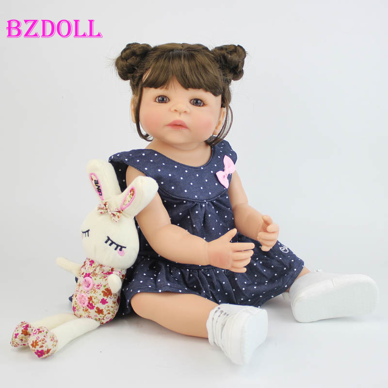 55cm Full Silicone Vinyl Body Reborn Girl Lifelike Baby Doll Newborn Princess Toddler Toy Bonecas Waterproof