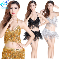 Sexy Belly Dance Suits Fashion Waist Chain And Tops Bohemia Tassel Sequined Armbands Dance Exercise Dancewear