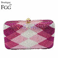 Gift Box Pink & Fuchsia Full Crystals Rhinestone  Ladies Plaid Metal Clutches Bag Women Clutch Evening Bags Minaudiere Handbag