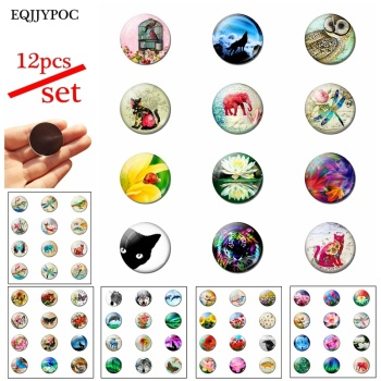 12pcs Animal and Fllower 25MM Fridge Magnet Glass Note Holder Decoration Refrigerator Magnetic Sticker Home Decor Cute Kids Gift 1