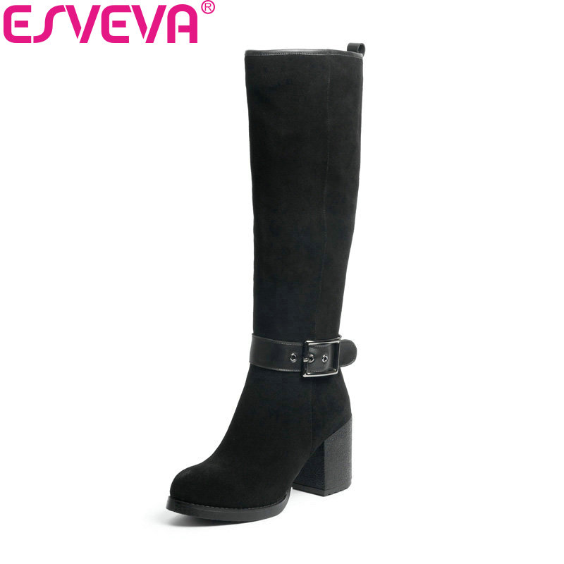 ESVEVA 2018 Women Boots Winter Warm Knee high Boots Cow Leather + Scrub Western Style Ladies Shoes Square High Heels Size 34 39