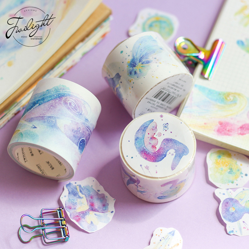 Universe Space Series Decorative Adhesive Tape Masking Washi Tape DIY Scrapbooking Sticker Label Japanese Stationery